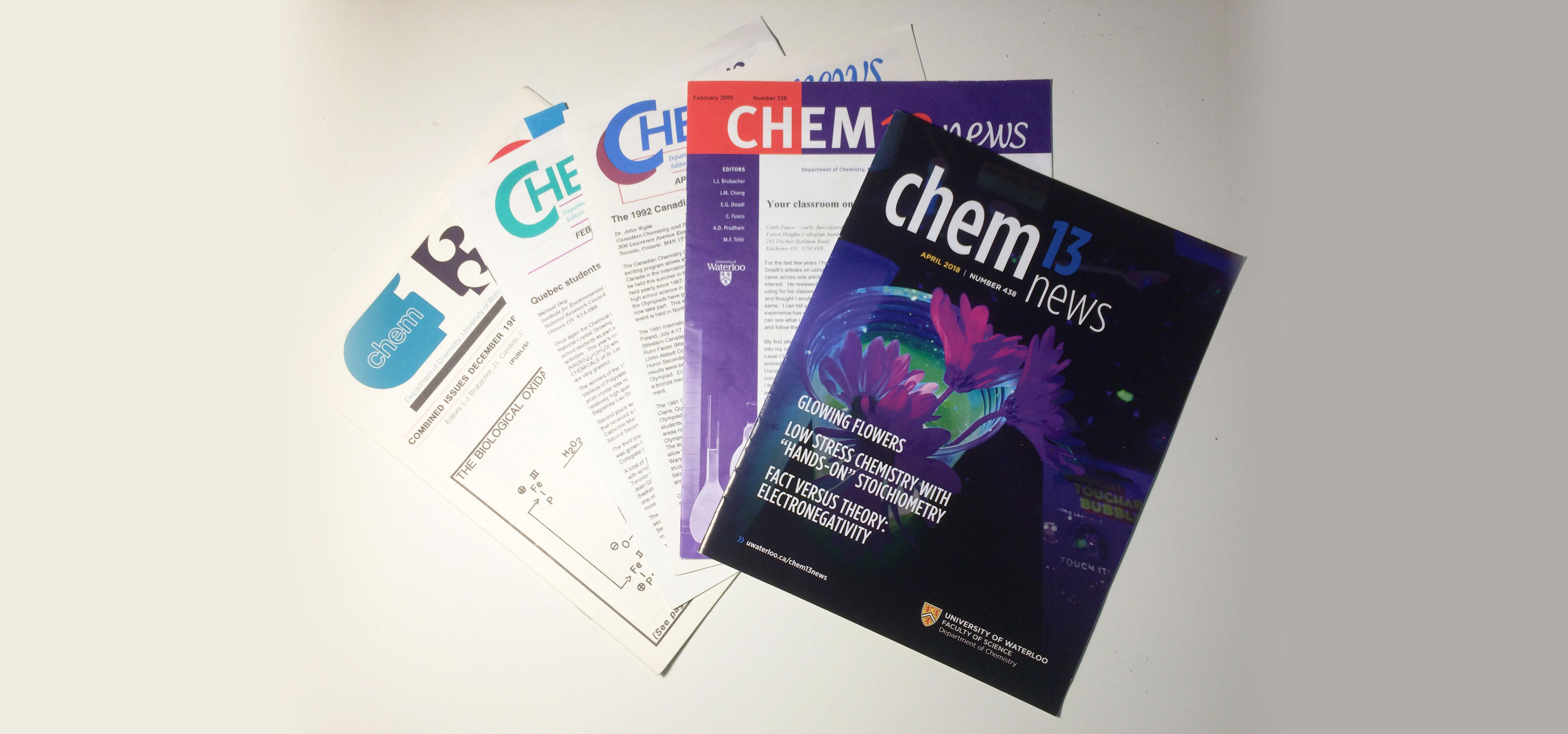50 years of Chem13 News magazine covers.