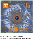 elemental tile of tennessine created digitally showing cross-section of a reactor core with Tennessee flag symbol in middle. Port Credit Secondary School, Mississauga, Ontario.