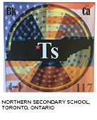 elemental tile of tennessine digitally created showing Tennessee state with American and Russian flags super-imposed. Northern Secondary School, Toronto, Ontario.