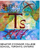 elemental tile of tennessine created with watercolor showing words Oak Ridge above Ts symbol in red airplanes on at bottom. Senator O'connor College School, Toronto, Ontario.