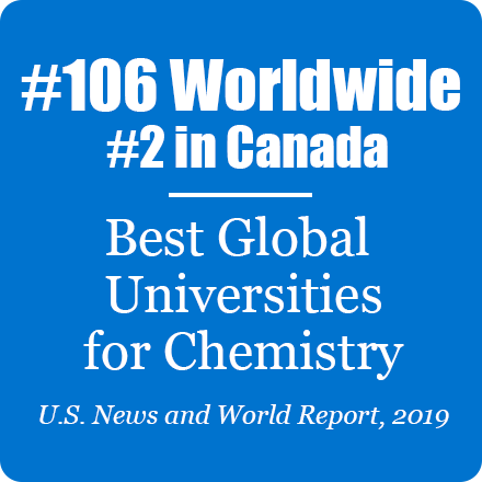 #106 Worldwide, #2 in Canada, Best Global Universities for Chemistry, US News and World Report, 2019