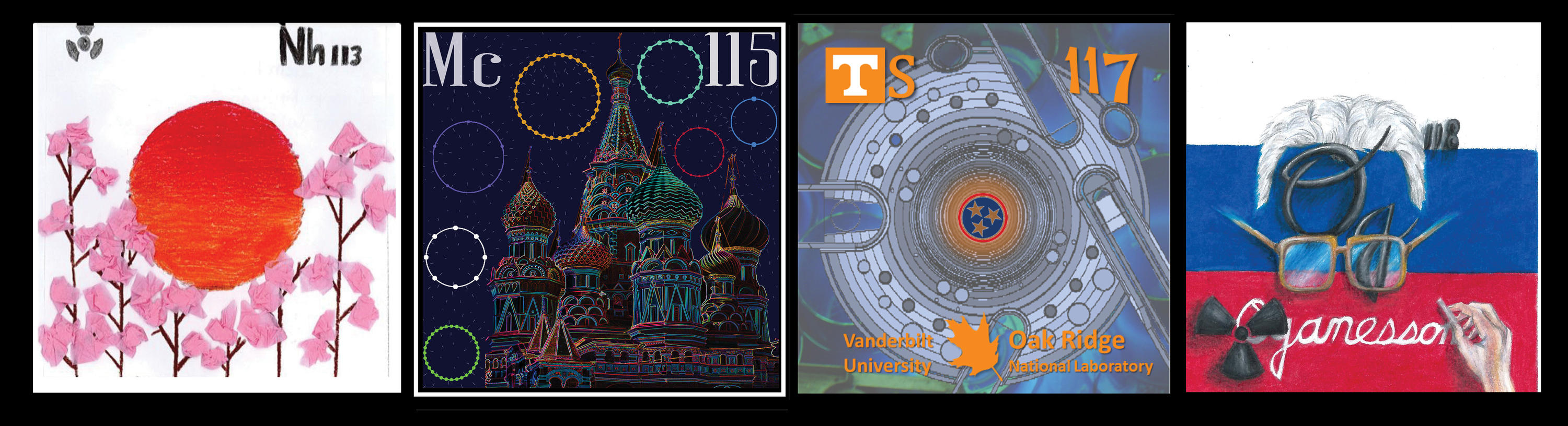 Period Table New Element contest winning tiles for Nihonium, Muscovium, Tennessine, and Oganesson.