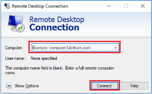 Remote desktop connection window has Computer or hostname input bar and Connect button outlined in red boxes