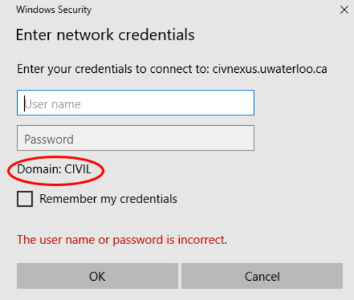 Enter network credentials screen, Domain being set to CIVIL is red circled
