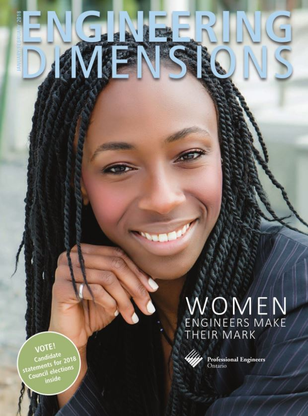 Amma Wakefield on the cover of the Professional Engineers of Ontario magazine