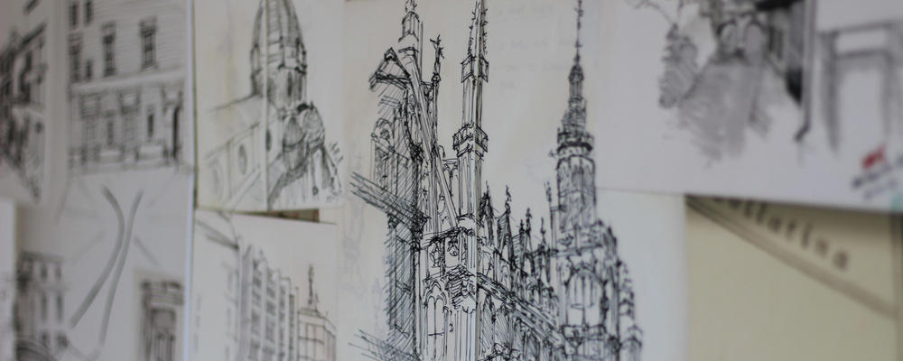 Sketch of a cathedral.