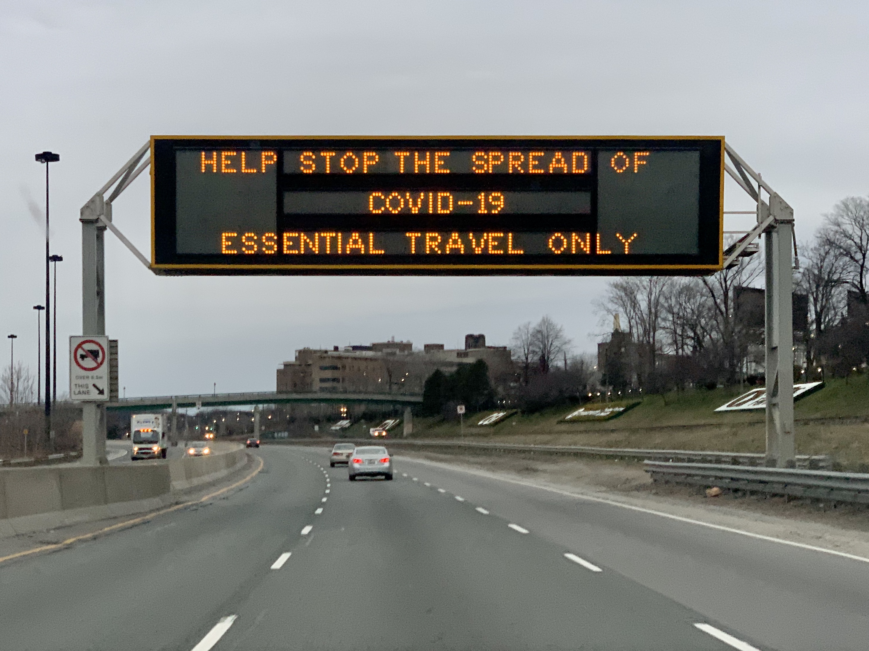 COVID-19  Highway message board sign