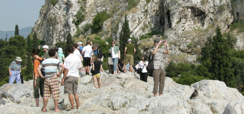 Students exploring the Areopagus Hill in Athens