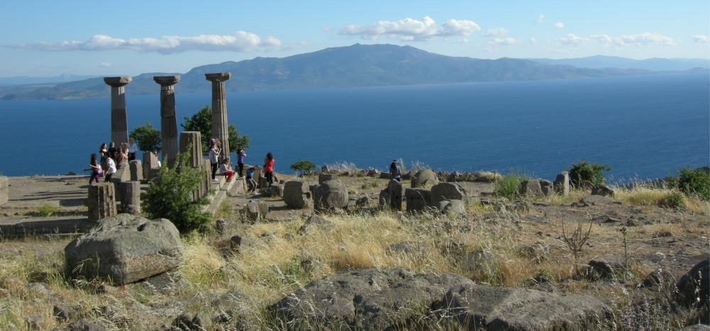 The Greek island of Lesbos from the heights of Assos