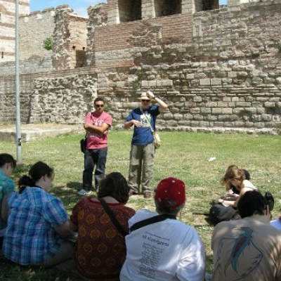 13. Bob Porter lecturing by the ancient walls of Constantinople