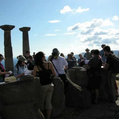 23. Maria Liston lecturing to Waterloo students at the Temple of Athena, Assos