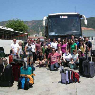 59. Our bus, our driver Ergin, our guide Cezmi, and most of us