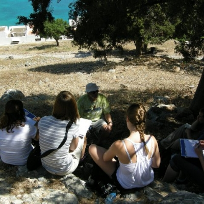 62. Bob Porter lecturing on the slopes of Lindos, Rhodes