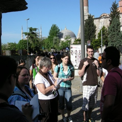8. Waterloo students and our Turkish guide Cezmi, outside Hagia Sophia, Istanbul