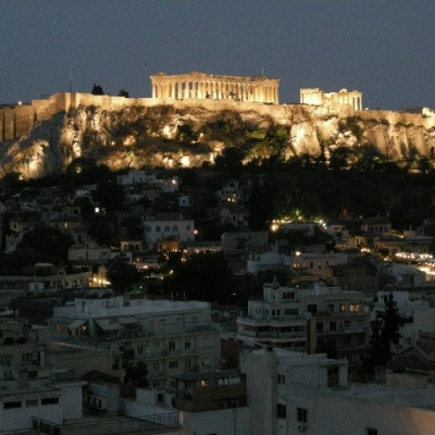 84. The acropolis from our hotel in Athens