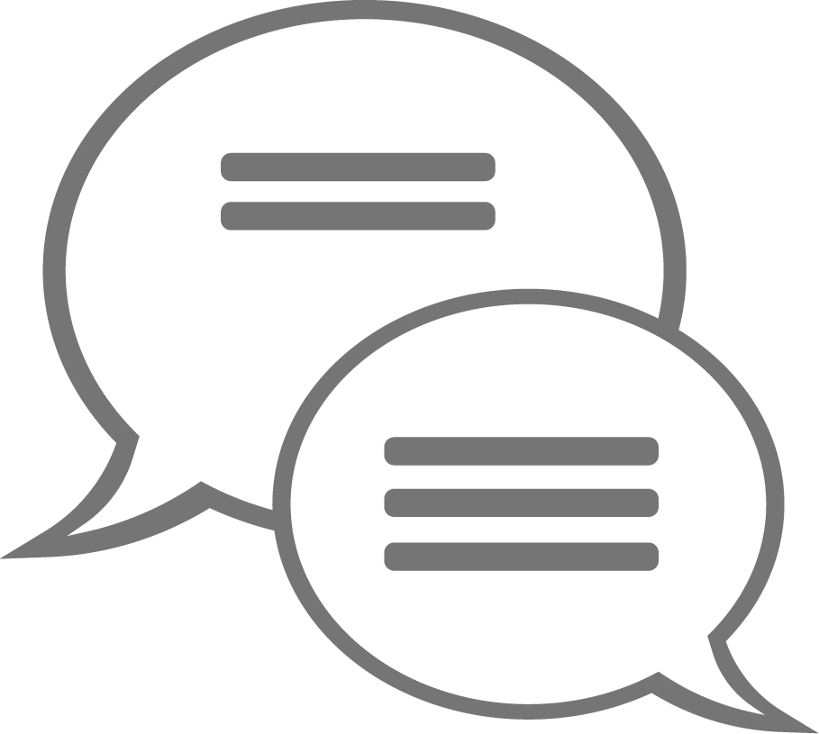 Icon of two speech bubbles indicating conversation