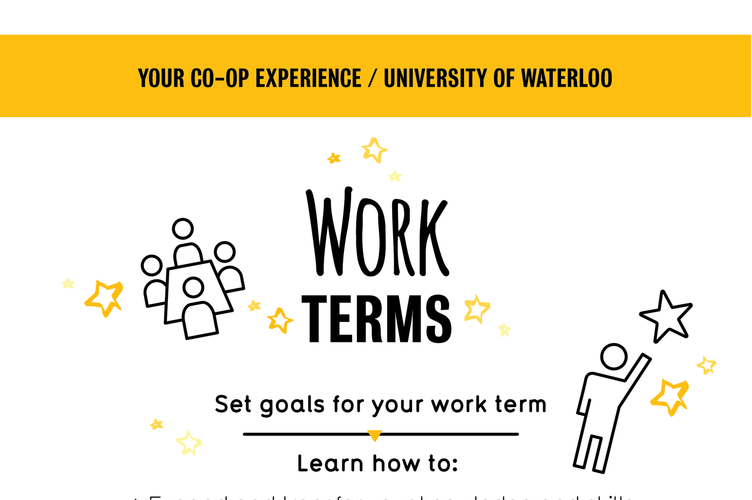 Graphic shows what to expect on a work term as a co-op student