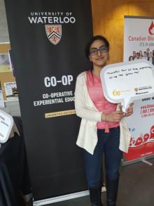 Student promoting waterloo co-op
