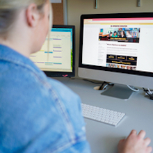 Student navigating co-op website