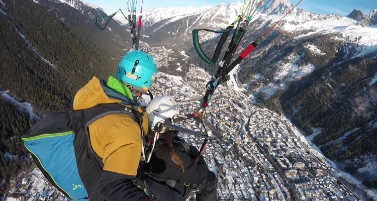 Student Paragliding in the french alps