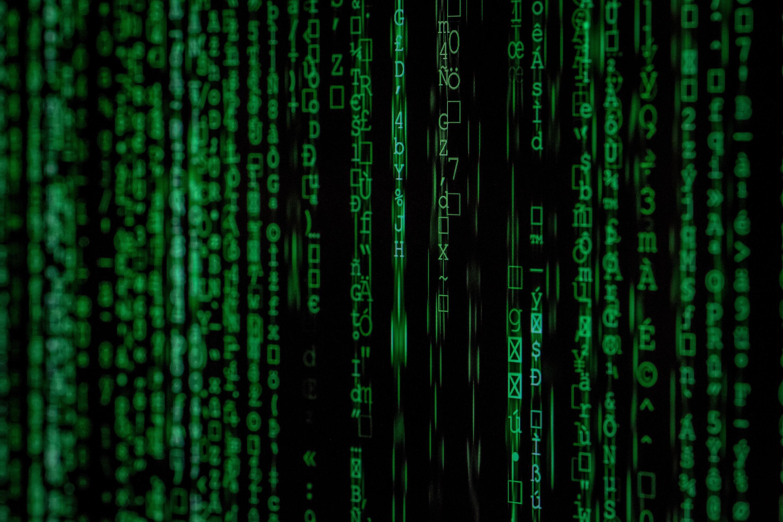 binary code on a black screen