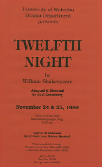 Twelfth Night 1989 Poster