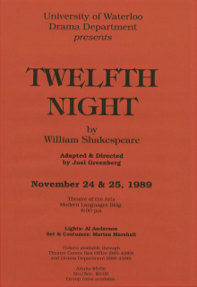 Twelfth Night 1989 Poster