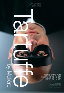 Tartuffe poster featuring a man in a black mask