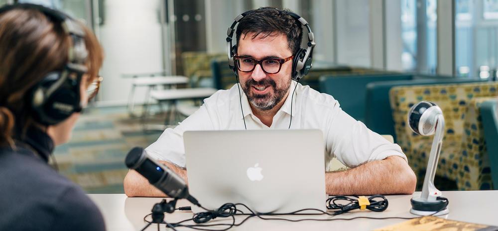 Robert Danisch recording podcast with student