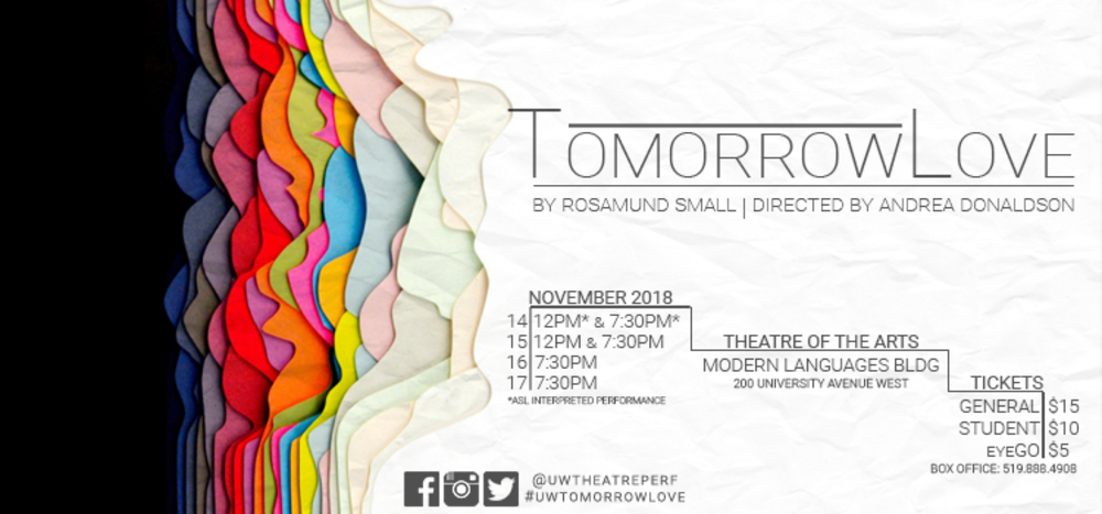 Poster image for fall production of TomorrowLove