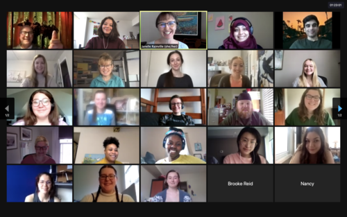 Zoom call screenshot of all students, faculty and staff of the Theatre and Performance program.
