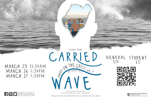 Official poster for 'carried away on the crest of a wave'.