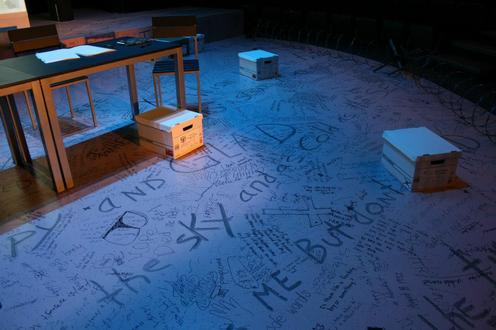 Words written on a stage
