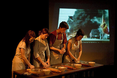 Four people baking in the play Differ/End: The Caledonia Project