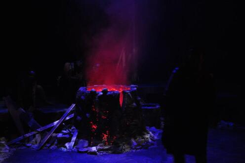 A cauldron bubbles