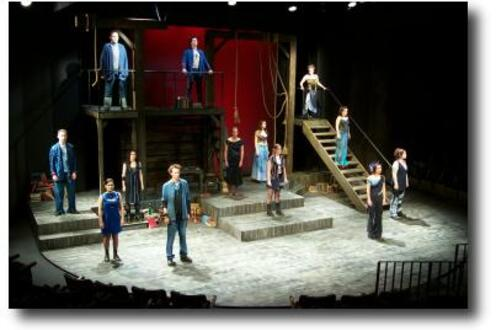 Cast of The Crucible Project all standing facing the audience