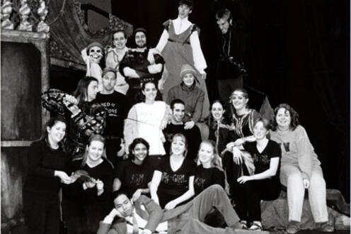 Cast Goodnight Desdemona (Good Morning Juliet) posing for a photo on stage