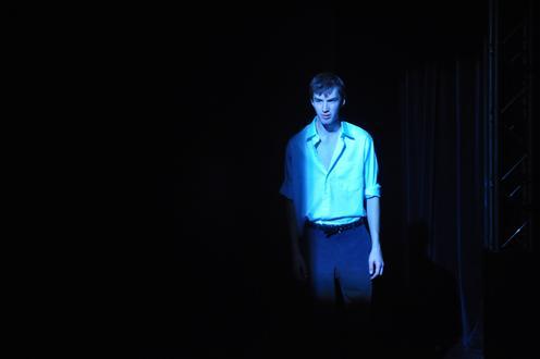 Man in blue light