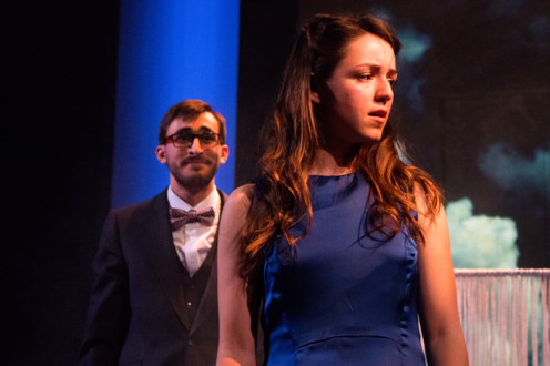 Eurydice and her Father standing on stage