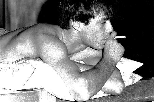 Lying down having a smoke