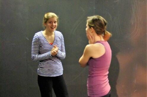 Rebecca Steiner & Kimberlee Walker facing each other