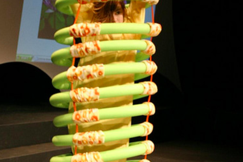 Person standing in spirally monster costume