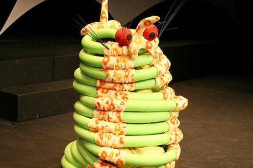 Person in spirally monster costume