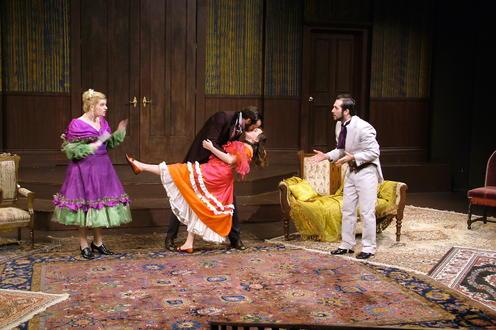 Man kisses woman in parlour
