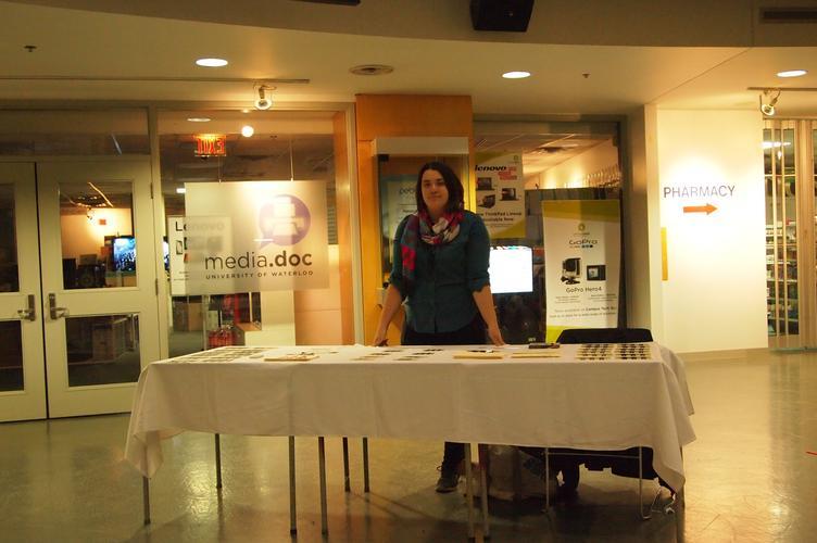 Madeleine Samms at info desk