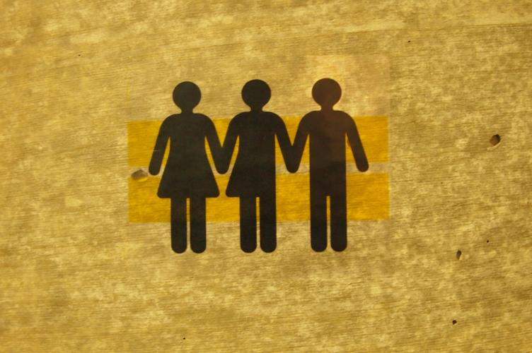 Pictogram of woman, transgendered person and male