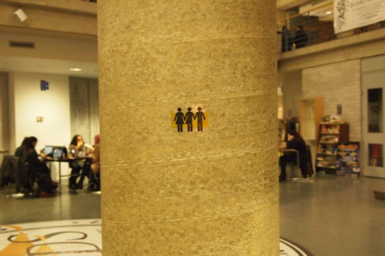 Vinyl decal on cement pillar