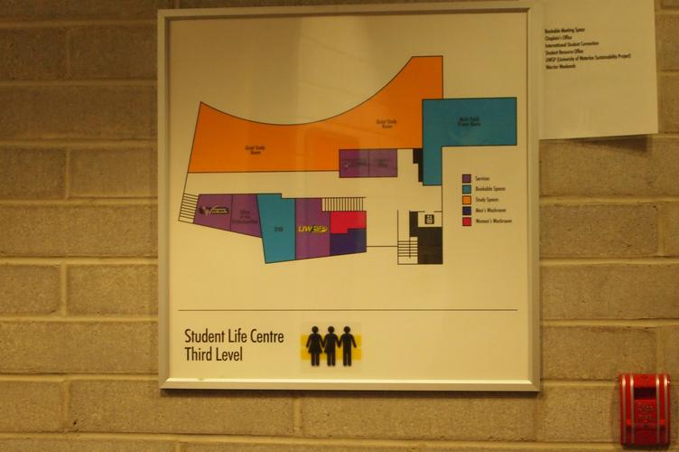 Vinyl decal on Student Life Centre building map