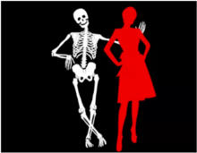 Skeleton and person in red dress