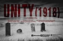 Black and white photo of grave stones on the prairies.  Poster image for play